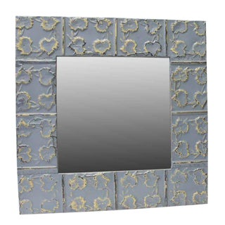 Blue Leafy Tin Mirror