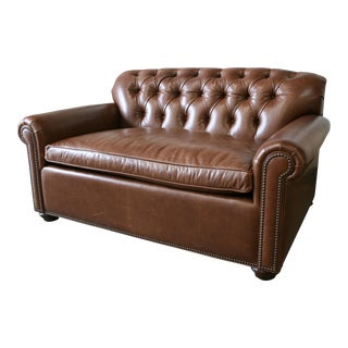 Barclay Butera Tufted Leather Sussex Sofa Bed
