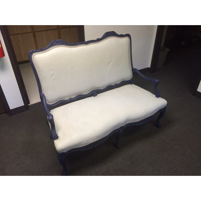 1800's Blue Distressed/Chalk Paint Settee - Image 5 of 6