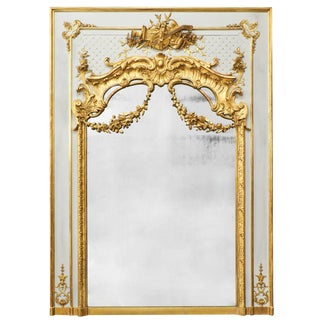 19th Century Louis XVI Gold Leaf Trumeau Mirror