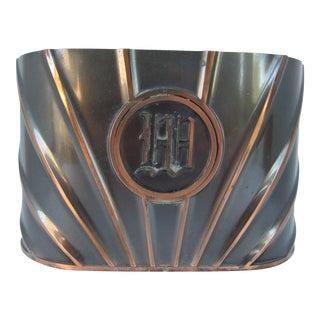 "Vintage Copper Monogram ""W"" Container"