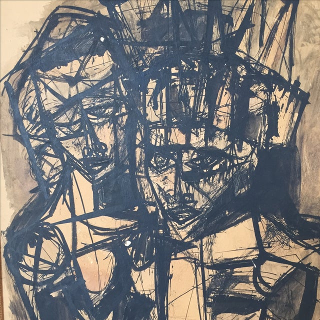 Vintage Mid-Century Original Ink Abstract in Frame - Image 6 of 8