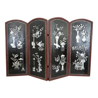 Antique Mother of Pearl & Lacquer Half Screen