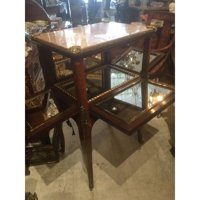 Antique Fine French Marble Top Gilt Bronze Mounted Inlaid Bar Liquor Cabinet - Image 10 of 11