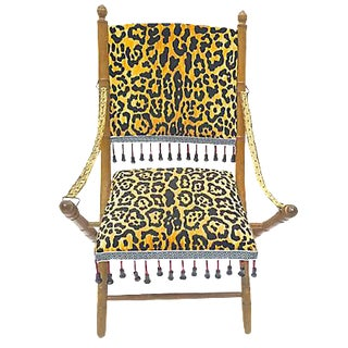 Antique Leopard Folding Campaign Chair