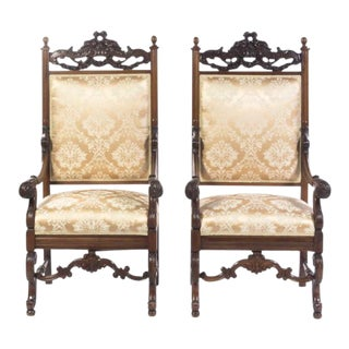 Louis XIII Style Mahogany Armchairs - A Pair