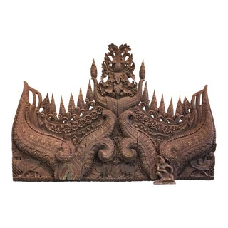 Antique Indonesia Carved Wood Panel