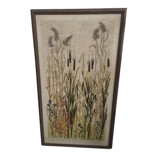 Framed Mid-Century Reeds & Grass Crewelwork