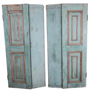 French Wood Painted Window Shutters - A Pair
