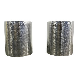 Hammered Metal Side Tables - A Pair