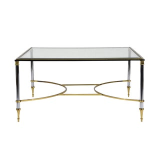 Mid-Century Modern-style Chrome and Brass Coffee Table