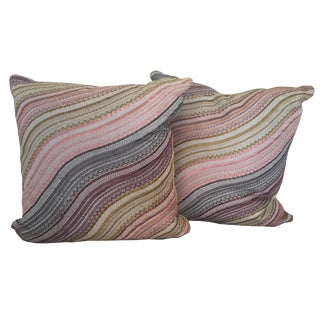 Samuel and Sons Stripe Embroidered Cushions - A Pair
