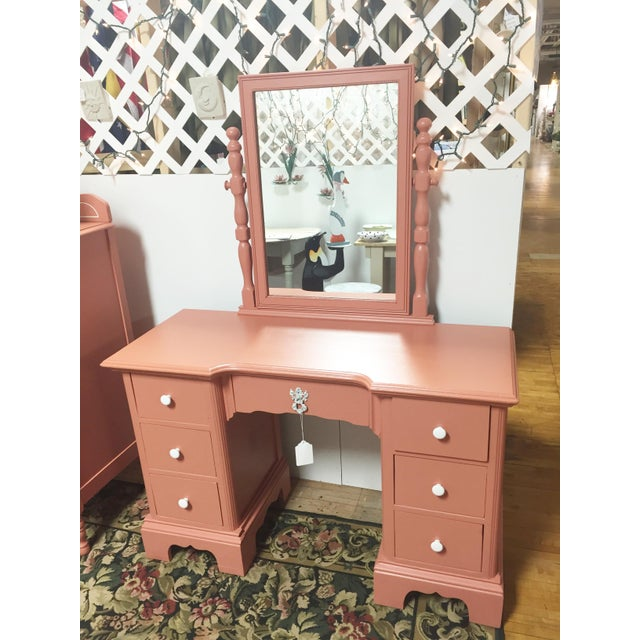 Antique Pink Painted Shabby Chic Vanity & Mirror - Image 2 of 11
