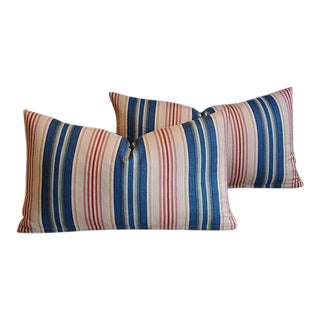 "22"" x 12"" Custom Tailored Blue, Pink & Red Striped Feather/Down Pillows - Pair"