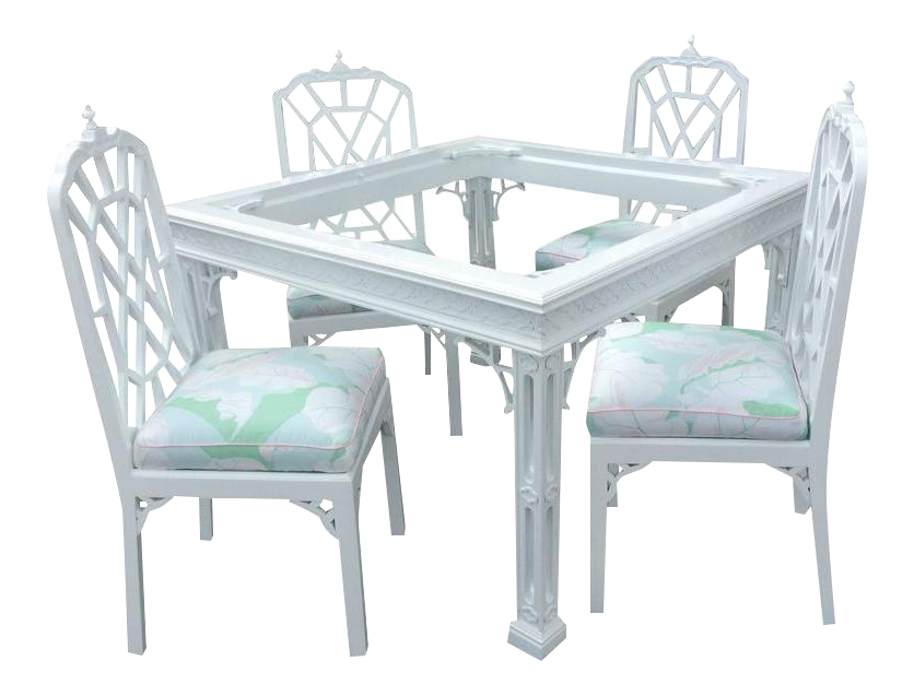 Vintage Pagoda Lacquered Game Dining Table And Chairs   Set Of 5