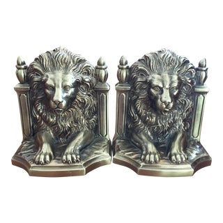 Vintage Brass Lion Head Bookends - A Pair