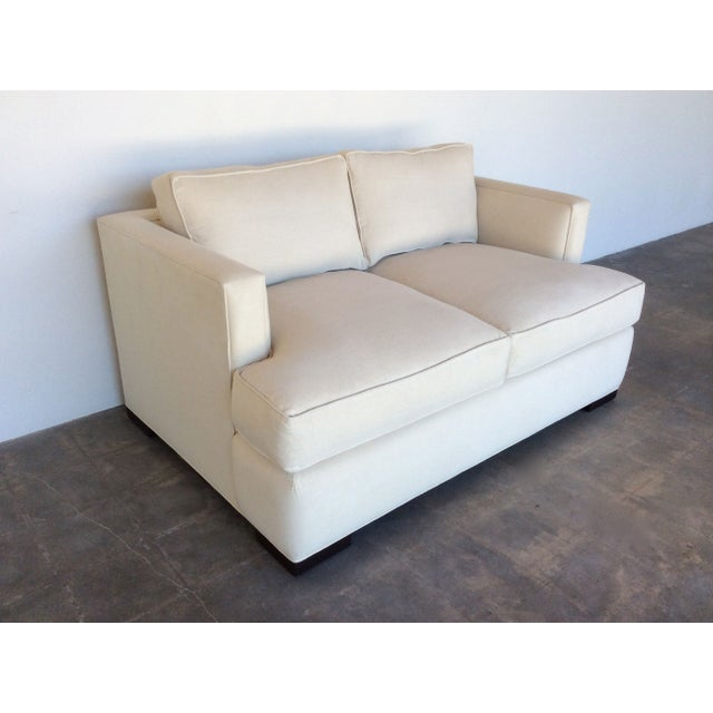 Contemporary White Love Seat - Image 5 of 7
