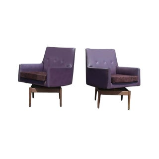 Vintage Jens Risom Purple Swivel Lounge Chairs - A Pair