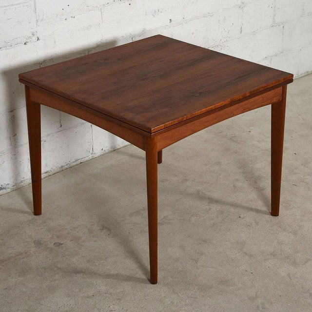Danish Modern Teak Square to Rectangle Dining / Game Table - Image 3 of 7