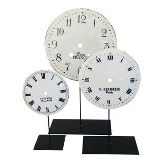 Porcelain & Metal Clock Faces on Stands - Set 3