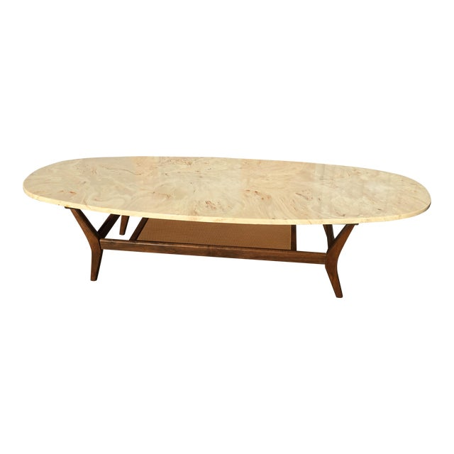 Mid Century Modern Marble Top Coffee Table: Mid-Century Modern Marble Surfboard Coffee Table