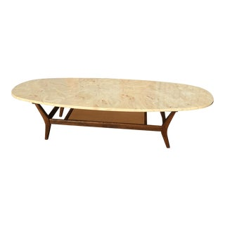 Mid-Century Modern Marble Surfboard Coffee Table