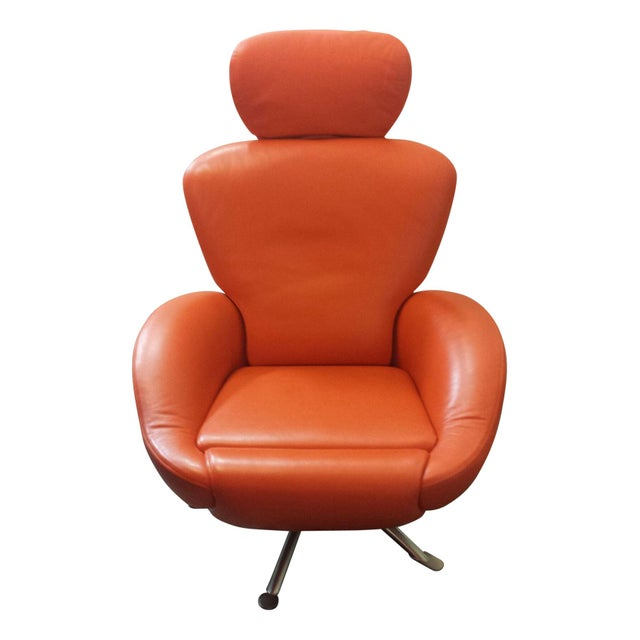 orange leather dodo chair by cassina chairish. Black Bedroom Furniture Sets. Home Design Ideas
