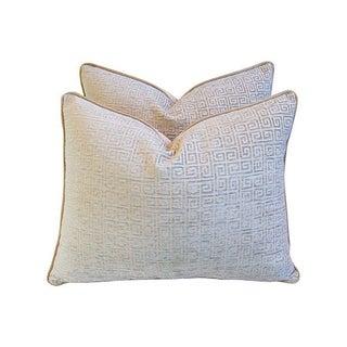 Greek Key Velvet Pillows- A  Pair