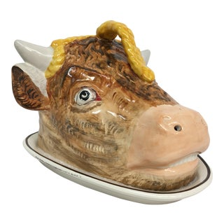 Staffordshire Bull Cow Cheese Dome Tureen