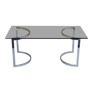 Vintage Chrome & Glass Dining Table