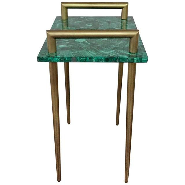 Malachite Stone & Metal Handle Side Table - Image 3 of 5
