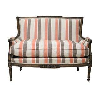 Coral Stripe Louis XVI Style Love Seat