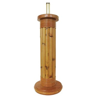 Restored Wrapped Rattan Pole Lamp with Mahogany Base