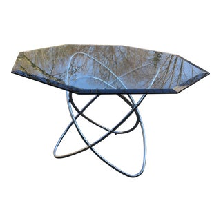 Modern Octagonal Glass Top Chrome Dining Table