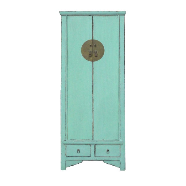 Image of Chinese Light Blue Narrow Storage Cabinet