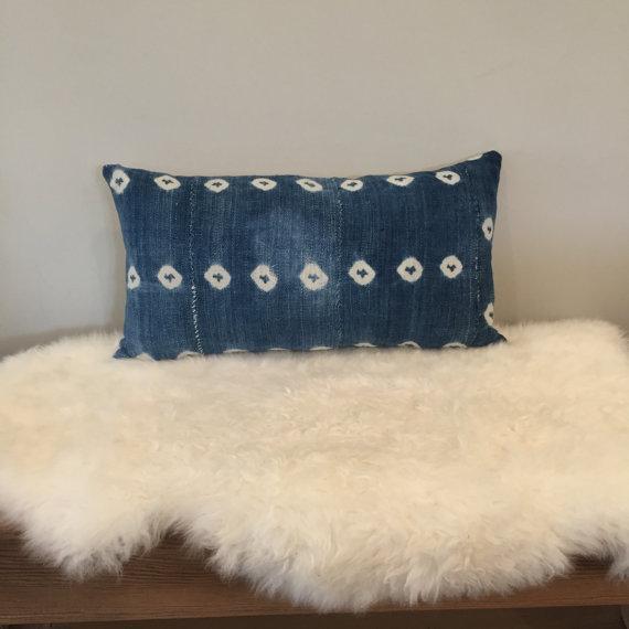Vintage African Textile Indigo Lumbar Pillow - Image 2 of 5