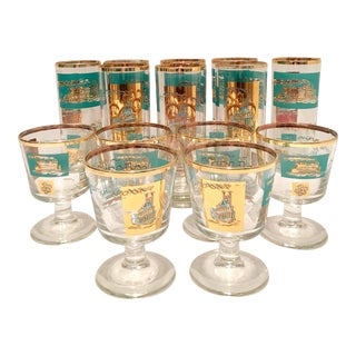 Mid-Century 22k Gold Adorned Steamboat Motif Glasses - Set of 14