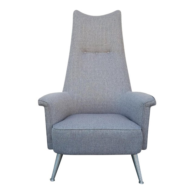 Mid Century Grey Tall Back Lounge Chair - Image 1 of 5