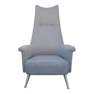 Mid Century Grey Tall Back Lounge Chair