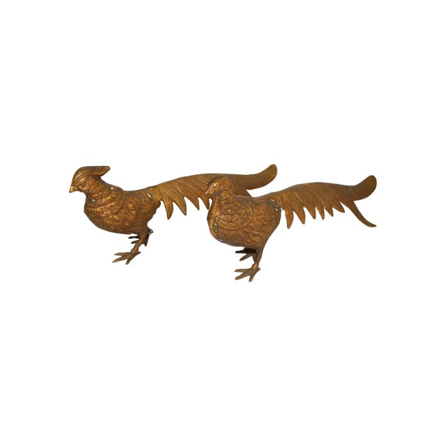 Image of Mid-Century 1950s Brass Pheasants - A Pair
