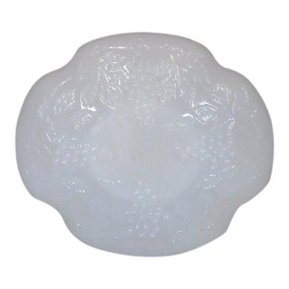 Gilded Milk Glass Serving Dish with Grape Motif