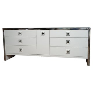 1970's Chrome and White Modernist Campaign Dresser