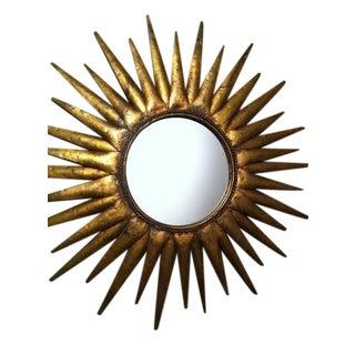Vintage Artistic Bronze Sunburst Wall Mirror