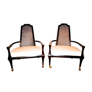 1960s Hollywood Regency Tall Cane Backed Armchairs