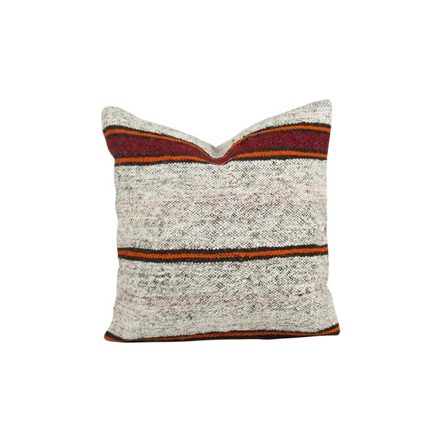 Textural Striped Over-Stuffed Kilim Pillow - Image 1 of 3