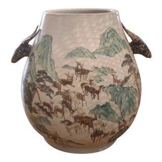Vintage Chinese Deer Herd Vase