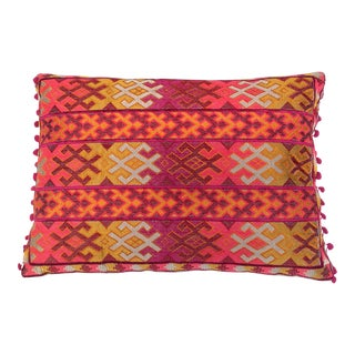Pulitzer Linen Ombré Silk Embroidered Aztec Pillow