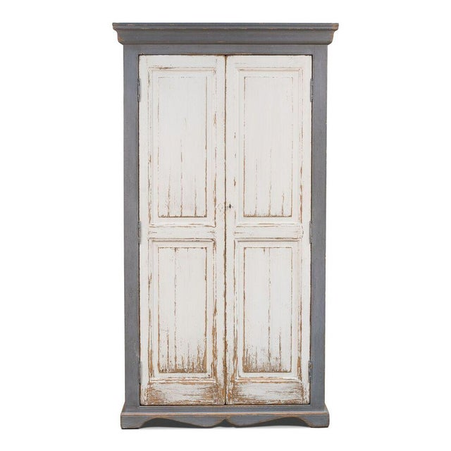 Sarreid Ltd Rustic White & Gray Painted Tall Cabinet - Image 2 of 4