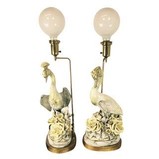 Freeman Leidy Ceramic Crane Lamps - Pair