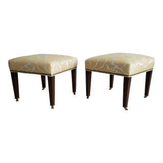 Vintage Upholstered Walnut & Brass Footstools - a Pair